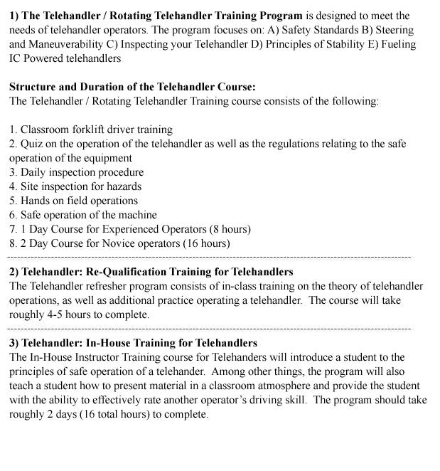 Telehandler Training in Regina