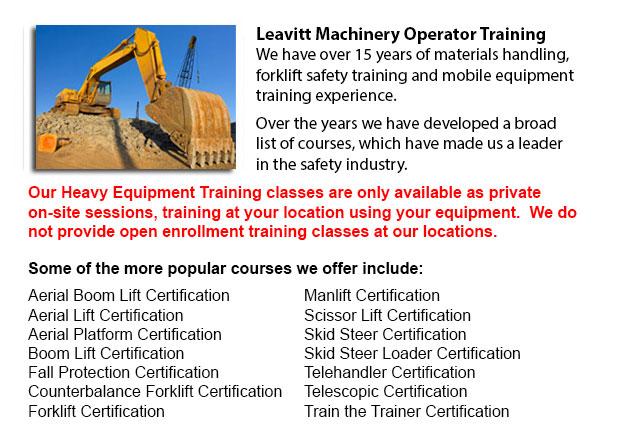 Heavy Equipment Certification Calgary