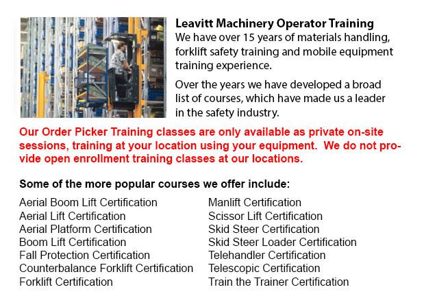 Narrow Aisle Forklift, Order Picker Training, Electric Pallet Jack / Electric Pallet Truck Training in Calgary