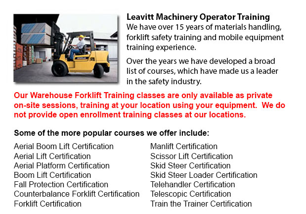Warehouse Forklift Training Classes Calgary