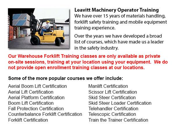 Warehouse Forklift Training Programs Calgary