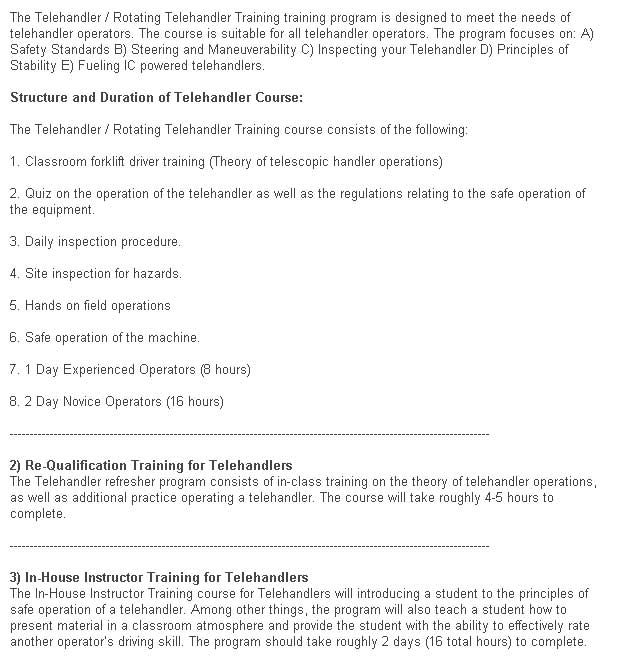 Telehandler, Rotational Telehandler, Zoom Boom Training in Grande Prairie