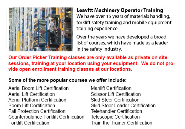 Narrow Aisle Forklift / Order Picker / Electric Pallet Jack / Electric Pallet Truck Training in Seattle