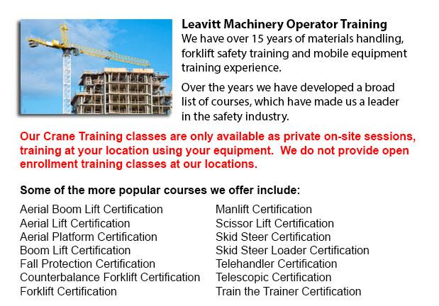Crane / Overhead Crane / Self-Erect Crane / Truck Mounted Crane / Hydraulic Cranes Training in Saskatoon