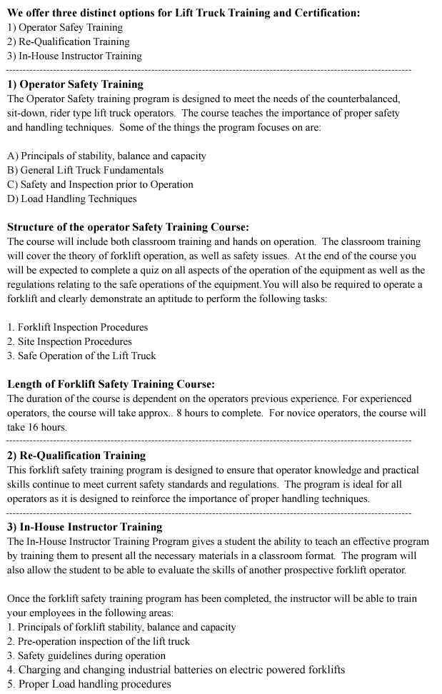 Operator Safety Training, Re-Qualification Training, In-House Instructor Training in Saskatoon